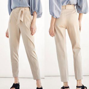 Massimo Dutti Paperbag Tie Waist High Rise Trouser